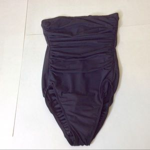 Lands End Strapless Ruched Swimsuit